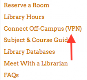 arrow pointing to Connect Off-Campus VPN link