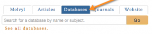 databases tab on search box