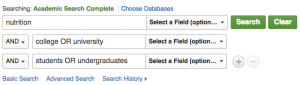 Sample search in Academic Search Complete