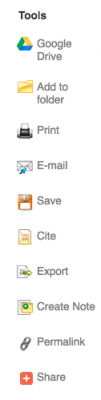 Tools box, including Google Drive; Add to Folder; Print; Email; Save; Cite; Export; Create Note; Permalink; Share