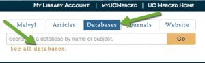 Databases tab on library website